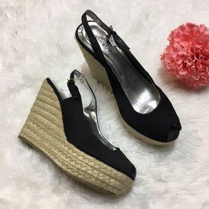 Black Sling Back Peep Toe Espadrille Wedge Size 8